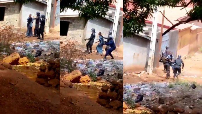Guinée - La police utilise une femme comme bouclier humain - VIDEO