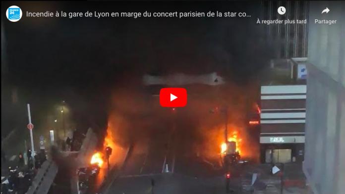 Concert de Fally Ipupa les images impressionnantes de l'incendie à Gare de Lyon - VIDEO
