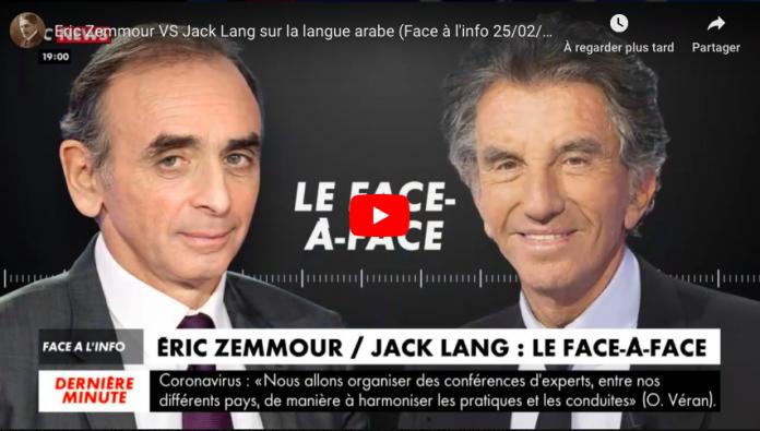 Énorme clash en direct entre Éric Zemmour et Jack Lang sur la langue arabe- VIDEO