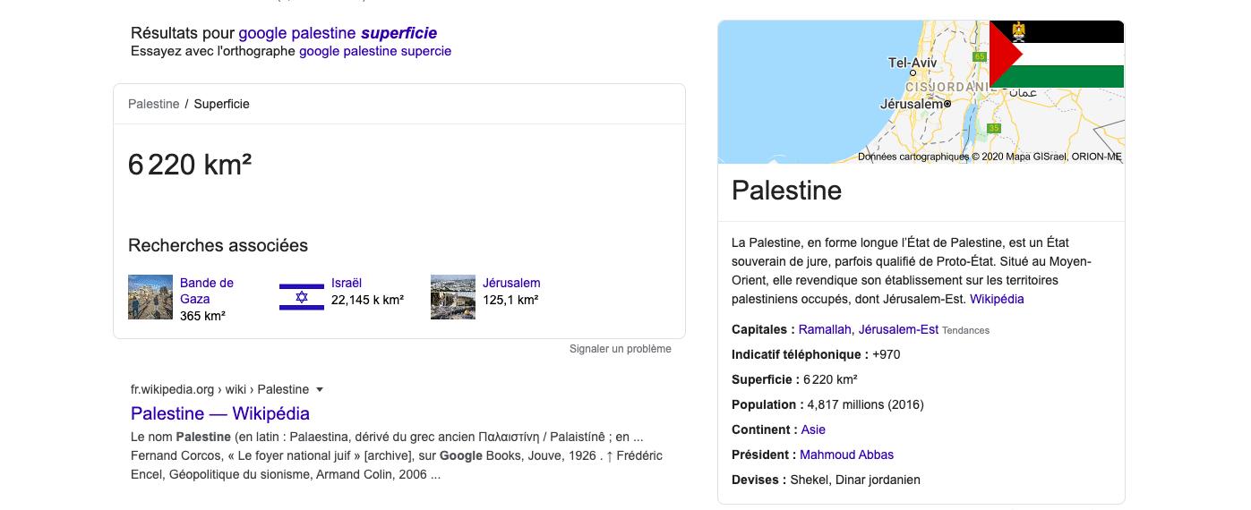 Google falsifie la superficie de la Palestine après l'annonce du plan de Donald Trump