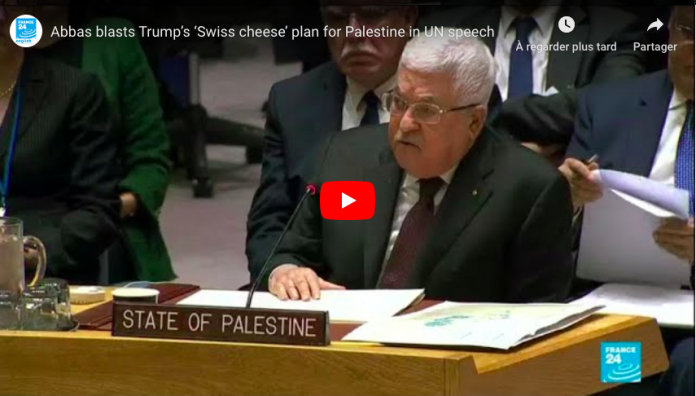 ONU Mahmoud Abbas appelle le monde à rejeter le plan de paix de Trump - VIDEO