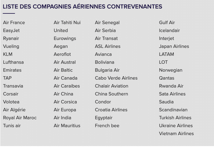 L'UFC Que-Choisir met en demeure 57 compagnies aériennes qui refusent le remboursement et dévoile leurs noms
