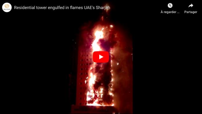 Emirats arabes unis un incendie spectaculaire ravage une tour résidentielle de 50 étages - VIDEO