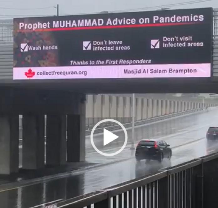 Canada : Des panneaux routiers affichent les recommandations du Prophète en cas d'épidémie - VIDÉO