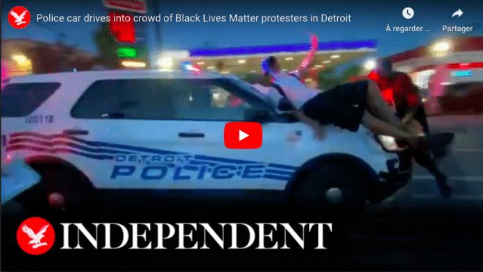 Detroit une voiture de police fonce sur la foule et renverse des manifestants