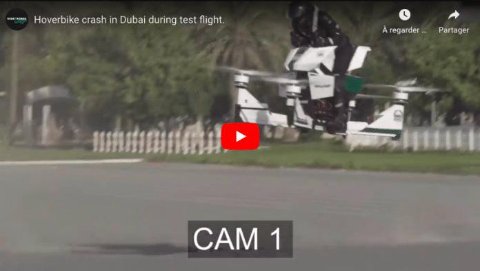 Dubaï la nouvelle moto volante de la police s'écrase durant la démonstration