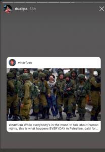 La chanteuse britannique Dua Lipa, dénonce les violences israéliennes commises sur les enfants palestiniens