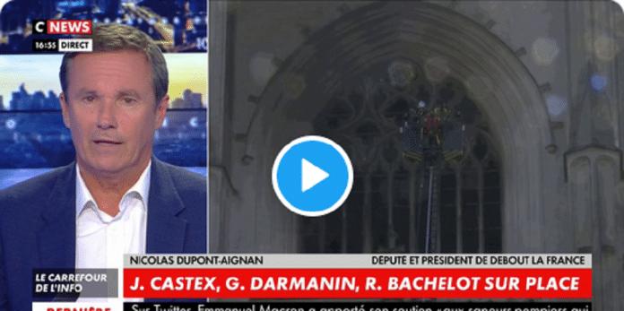 Nicolas Dupont-Aignan compare l'incendie de Nantes aux mosquées vandalisées