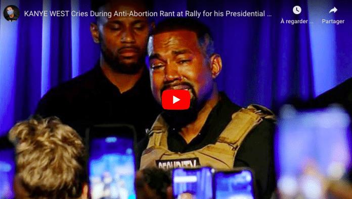 Présidentielles US Kanye West fond en larmes lors de son premier meeting