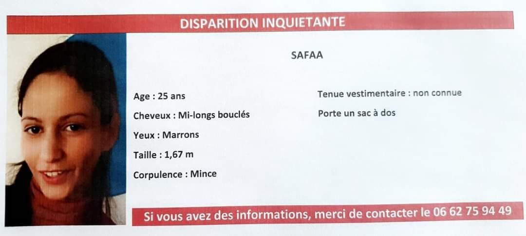 AVIS DE RECHERCHE Disparition de Safaa 25 ans à Cambrai (Lille)