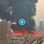 Emirats arabes unis un grand incendie dans un marché fermé d'Ajman (1)