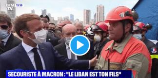 En déplacement au Liban, Emmanuel Macron interpelé par un secouriste devant les caméras