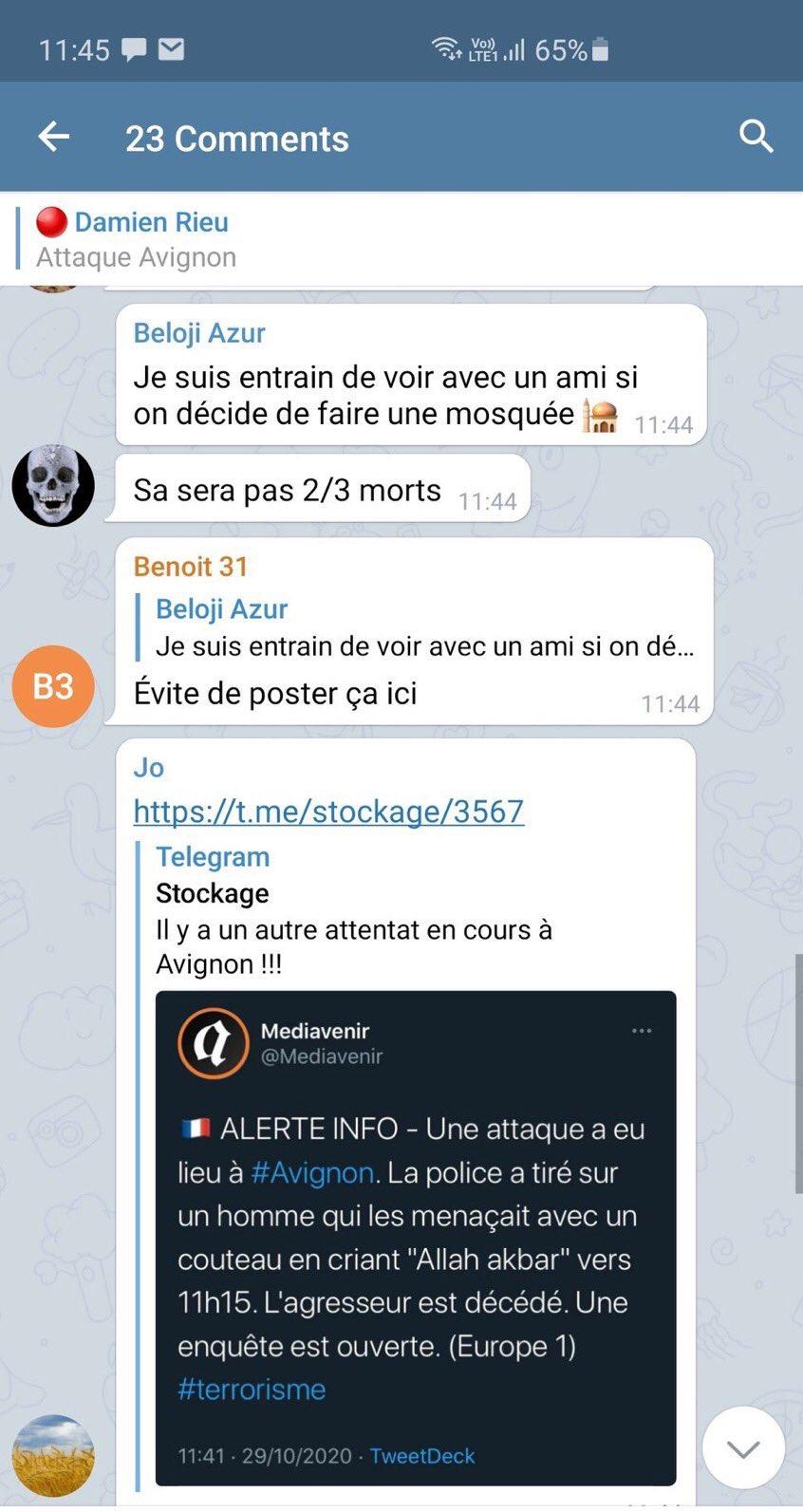 Le Télégram de Damien Rieu appelle a commettre un attentat dans une mosquée