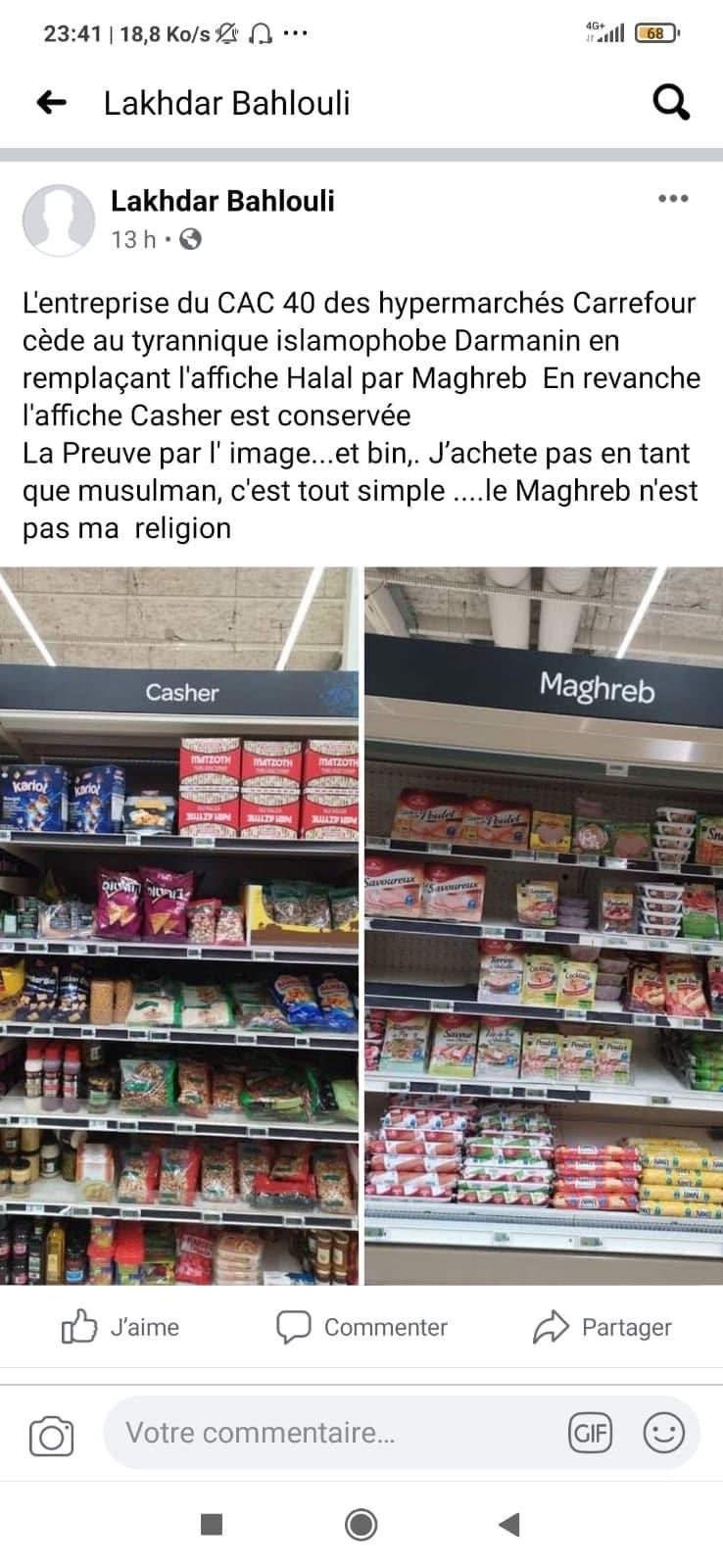 Carrefour remplace le rayon «Halal» par le rayon «Maghreb»