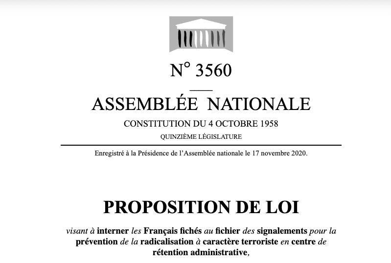 L'assemblée nationale publie une proposition de loi réclamant des camps de «rétention» pour les musulmans2