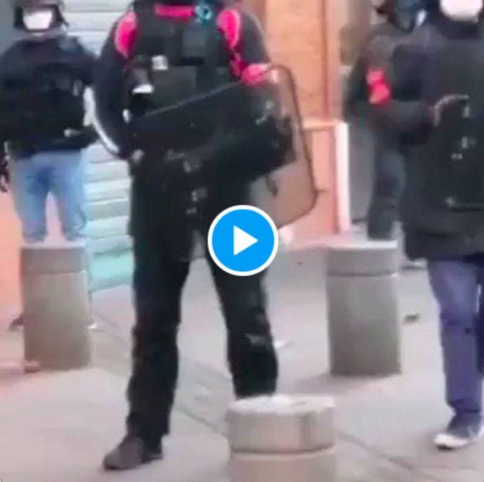 Toulouse la police frappe et embarque une femme qui a refusé de témoigner contre un manifestant - VIDEO