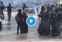 Les soldats israéliens projettent violemment au sol une femme palestinienne - VIDEO