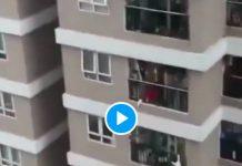 Un homme sauve un enfant qui fait une chute du 12e étage - VIDEO