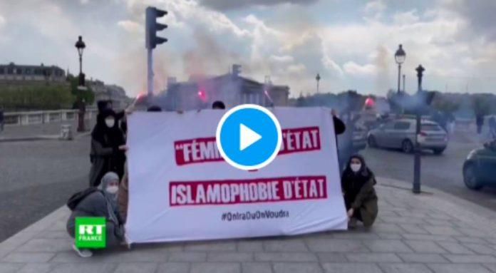 Paris des femmes se mobilisent devant l'Assemblée nationale contre le projet de loi séparatisme - VIDEO