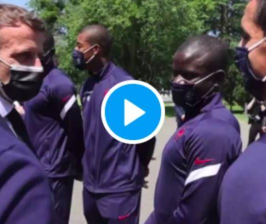 «Toujours trois poumons ?» Emmanuel Macron taquine Ngolo Kanté à Clairefontaine - VIDEO