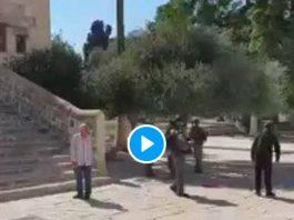 Al-Aqsa un soldat israélien arrache son tapis à une Palestinienne qui s'apprêtait à faire sa prière - VIDEO
