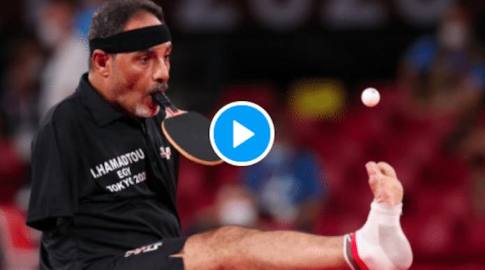 Jeux Paralympiques Amputé des deux bras, le pongiste égyptien Ibrahim Hamadtou fait sensation - VIDEO
