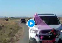 Algérie une voiture prend feu après un tir de fusil pour célébrer un mariage - VIDEO