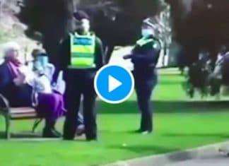 Australie une vieille dame se fait arracher son téléphone par un policier - VIDEO