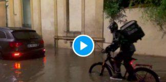 Montpellier un livreur Uber Eats livrant un repas dans les rues inondées provoque l'indignation - VIDEO (1)